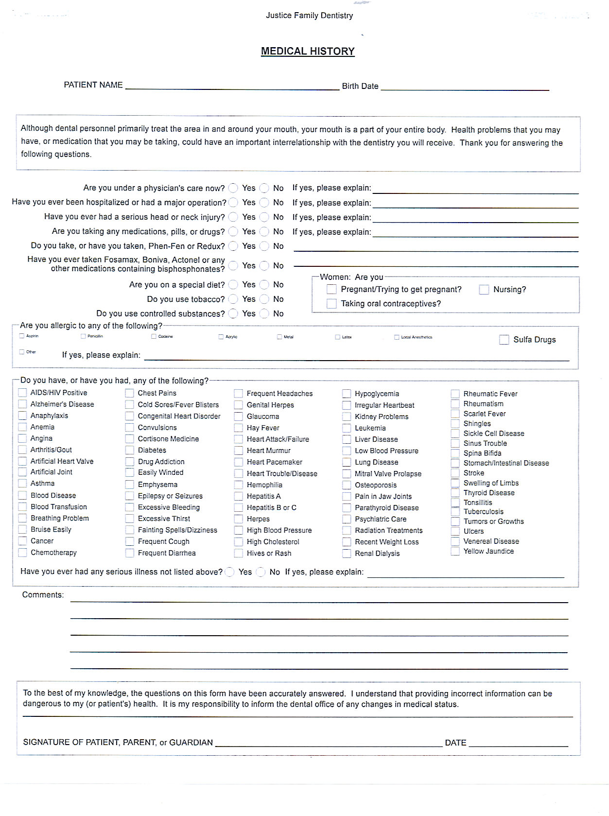 Amazing Medical History Forms Templates